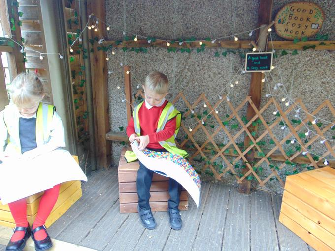 Enjoying a good book in the cosy nook.