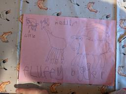 Lily's drawing of the Billy Goats Gruff, together with some descriptive words