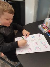 Andrew learning his letters