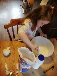 Ariya making her own playdough
