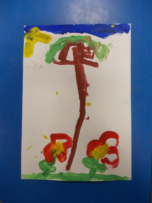 Lyra painted a treehouse.