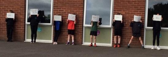 A section of our 0-1000 number line outside