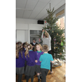 We decorated our tree with handmade decorations.