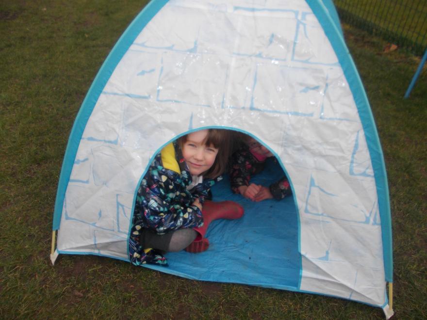 Playing in the igloo