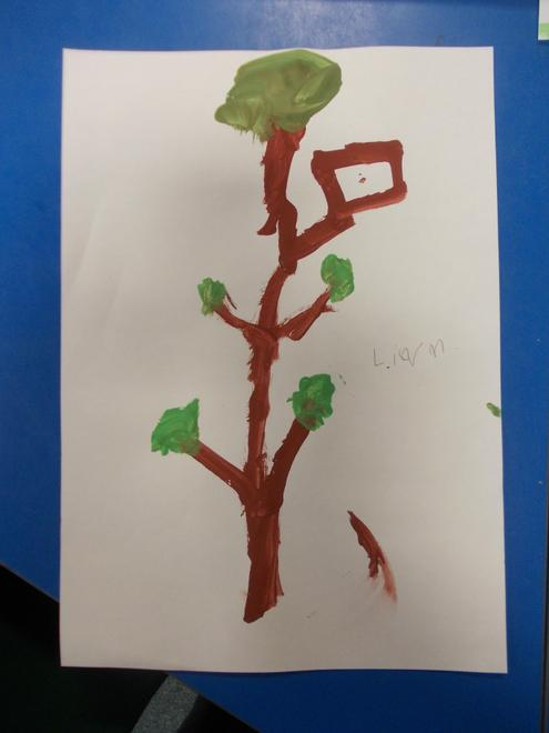 Liam painted a treehouse.