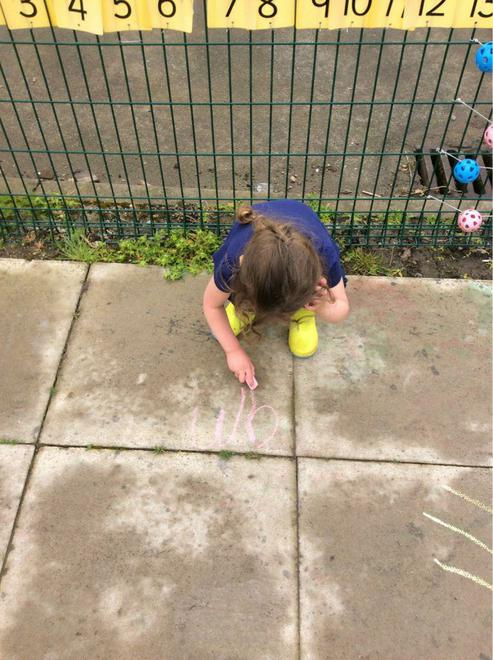 Using chalk to write letters