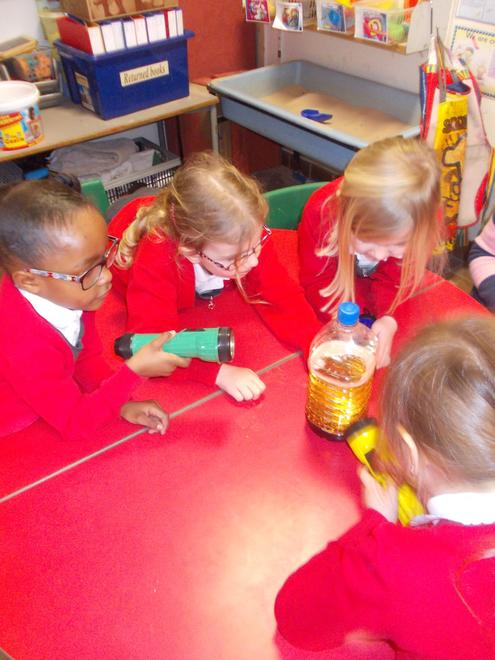 We used torches to see bubbles rise in the oil