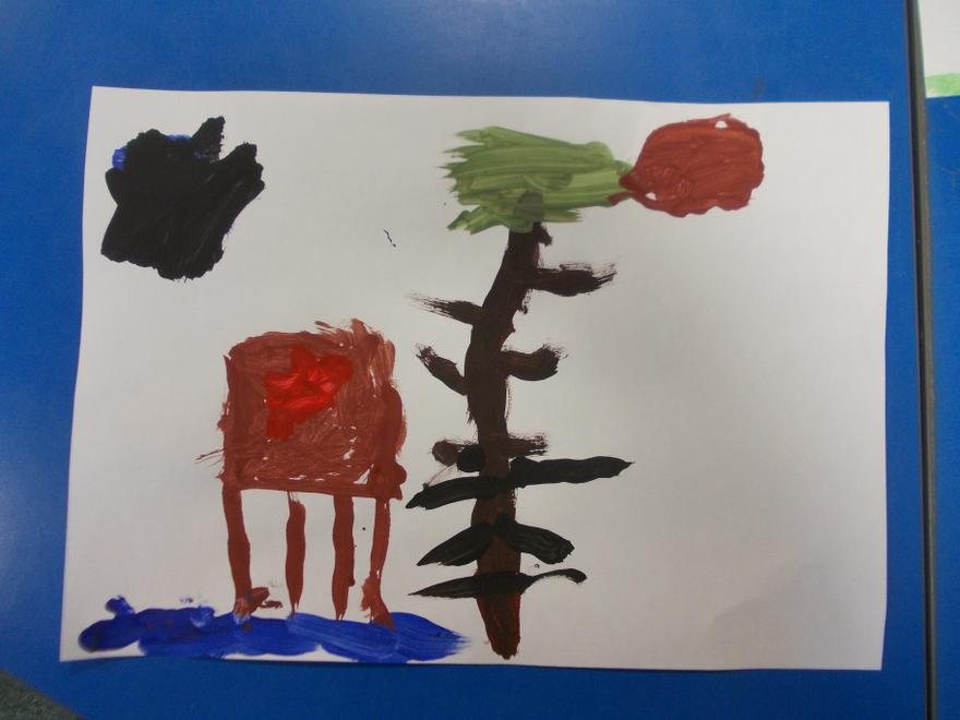 George painted a treehouse and a house on stilts.
