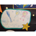Zainab drew herself and Aisha in spacesuits
