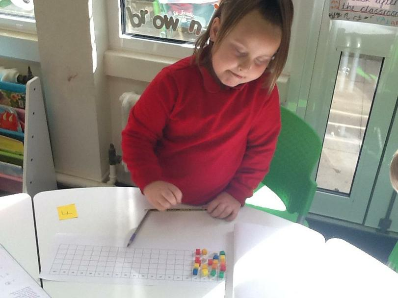 Tegan using the 5s grid to count in 5s