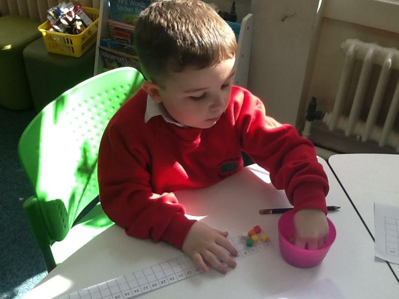 Tommy using a 2s grid to count in 2s