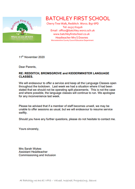 November Letter Language Classes
