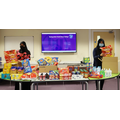 Year 13 students packing hampers