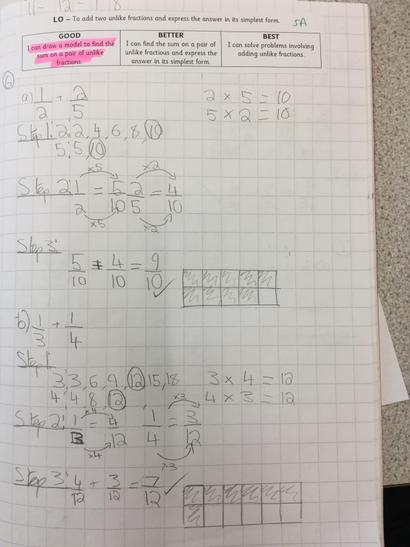 Crimson class have been adding fractions