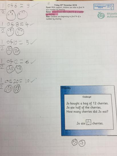 Orange Class have been learning about fractions