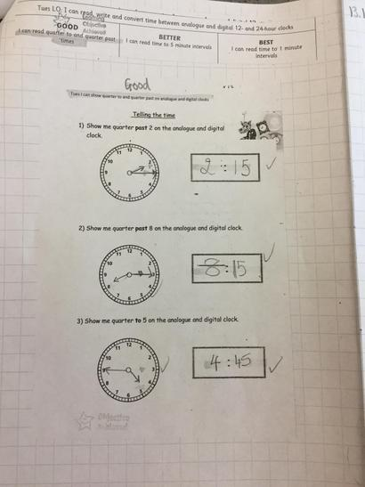 Teal class have been reading the time
