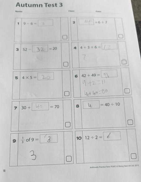 Jayden's arithmetic test