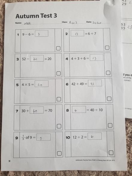 Millie's arithmetic test