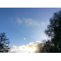 Charlotte: The sky was bright, blue with white, fluffy clouds.