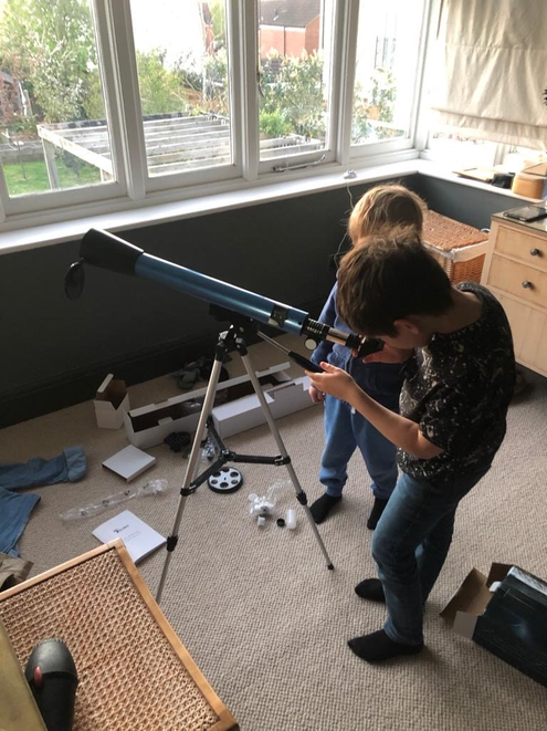 Reggie got a telescope for his birthday, so has been doing some stargazing