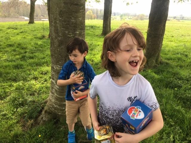 Easter egg hunting.