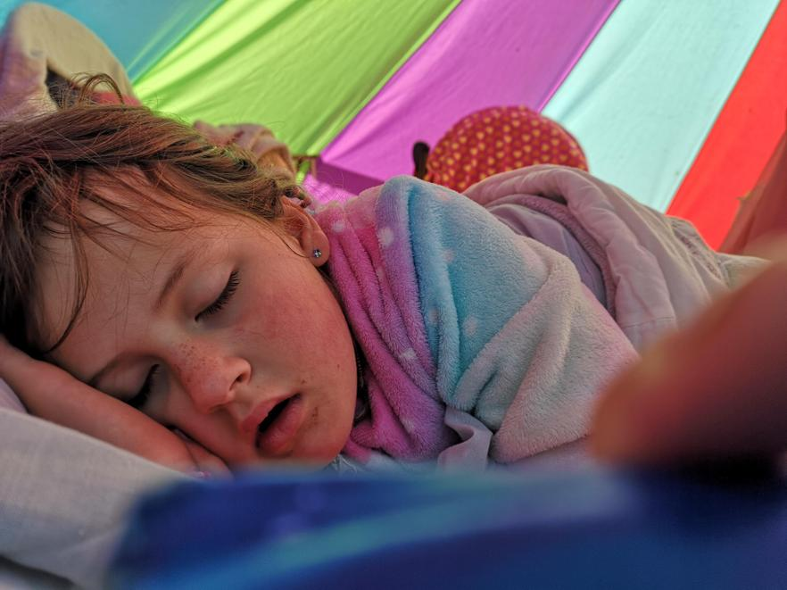 Fast asleep in her bell tent.