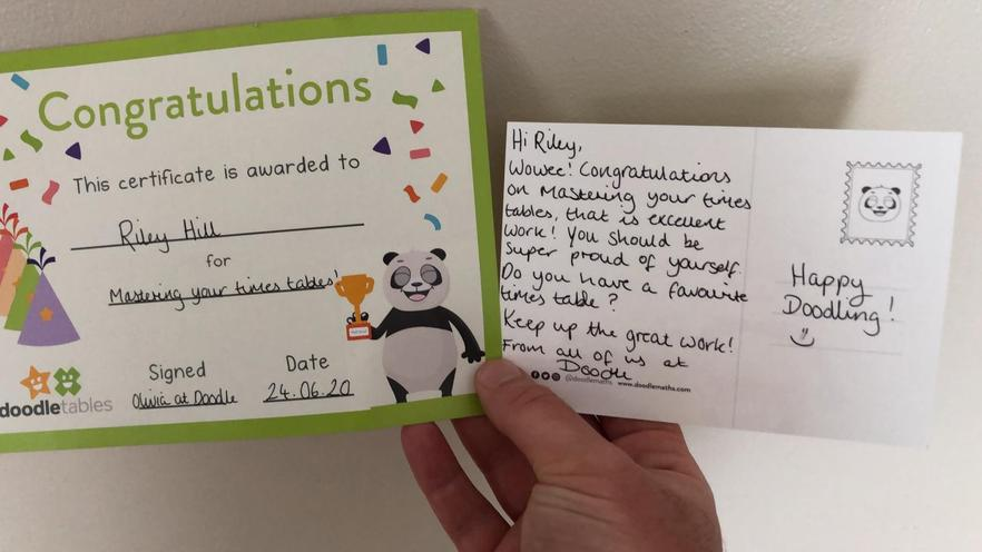 Lovely to receive a postcard and certificate!