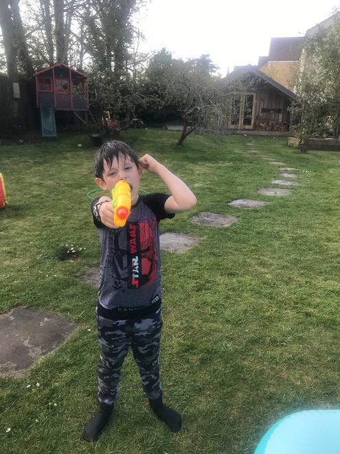 Reggie and his family had an epic water fight!