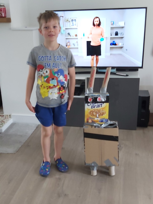 Alfie doing his morning excercise with Joe Wicks