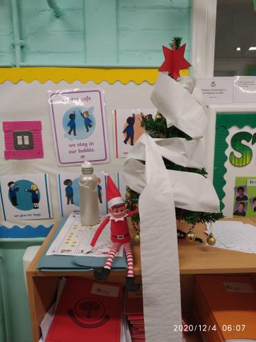 4/12/2020- Look what the naughty elf got up to in class 2G.