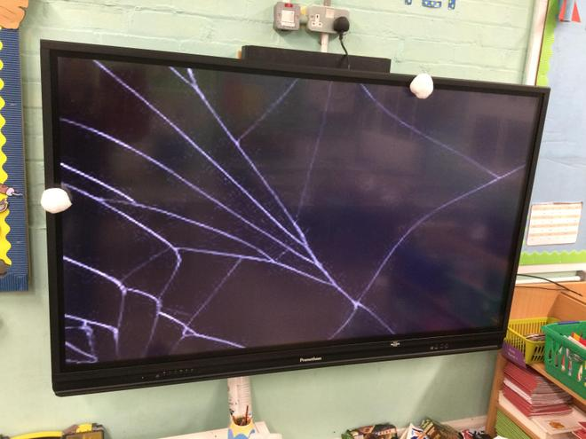 Oh no! Look what happened when he threw a snowball at the screen. We really must find him!