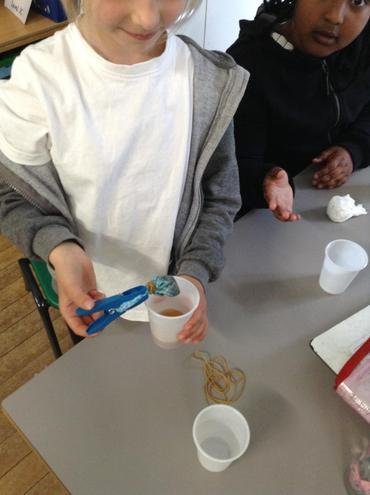 Here the children are testing to see which materials make the best tea bag.
