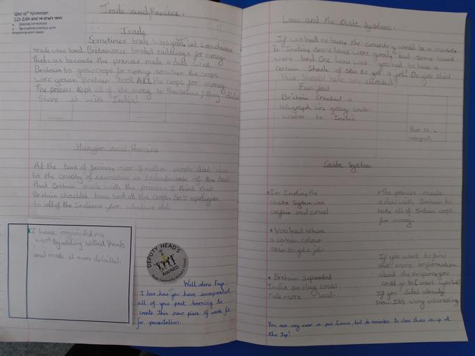 We considered the positive and negative aspects of the British empire in India.