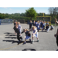 Learning how to run under the skipping rope.