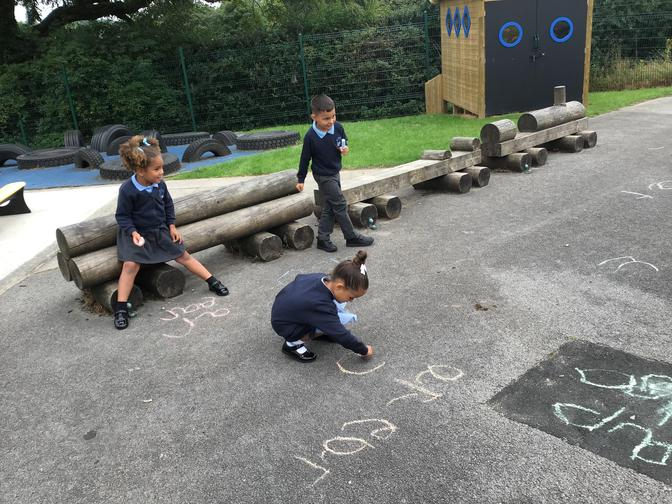 We practised phase 2 sounds - s. f. h. k. sh.  th
