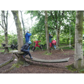 Team work on the low ropes.