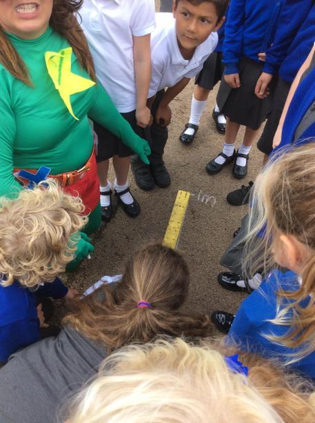 Measuring each metre.