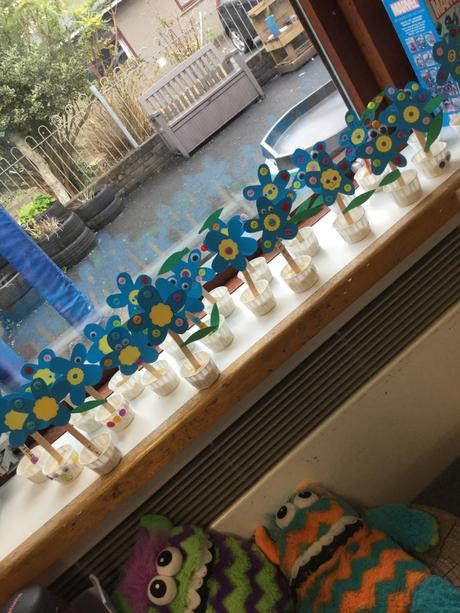 Every child made their own 'forget me not' flowers