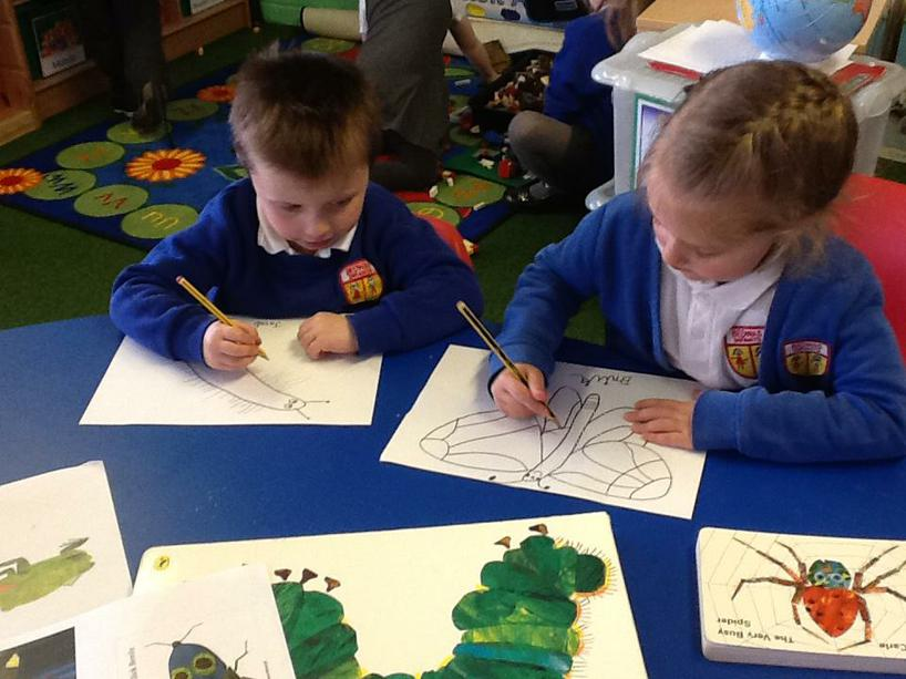 Adding detail to our 'Eric Carle' drawing.