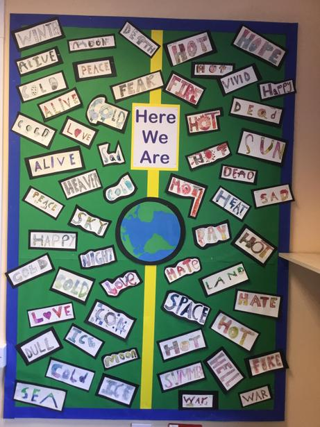 Check out our beautiful art work inspired by the book - 'Here We Are' by Oliver Jeffers.