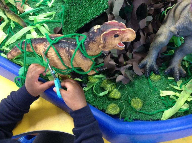 We had to rescue the dinosaurs from the jungle vines!