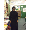 Eliza showed us her traditional dress for Mosque.