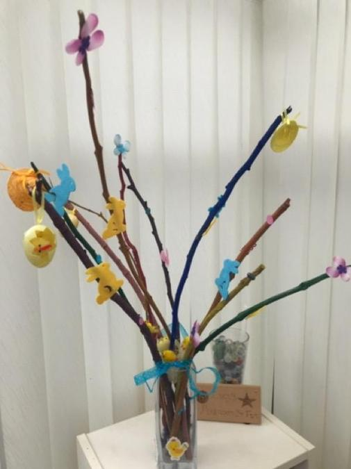 We collected twigs and painted them Reception.jpg