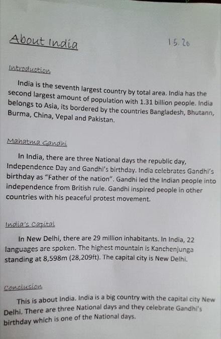 Year 5 are busy learning about India so Ella has researched and written her own report.jpg