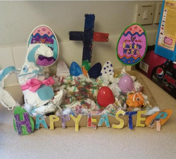 A very carefully made paper mache Easter Scene Evie - reception.jpg