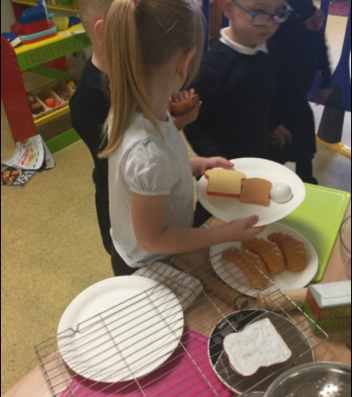 Sharing out the roles to make our lunch.