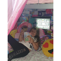 Paige in her reading corner!
