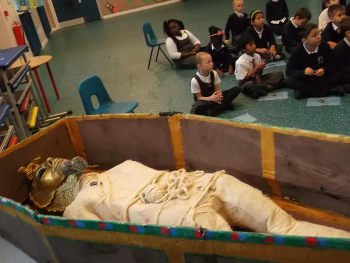 Getting the mummy ready.