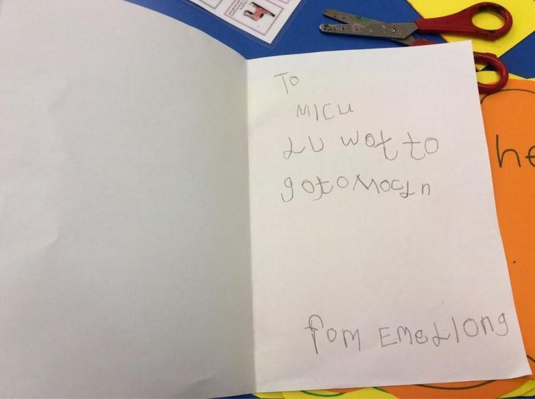 Writing a card for a friend