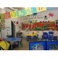 The classroom decorated for Anansi the Spider